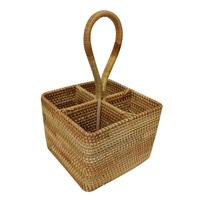 4 Pocket Wicker Basket Wicker Camping Picnic Basket Shopping Storage Hamper With Handle Wooden Color Wicker Picnic Basket