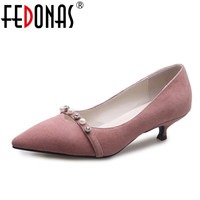 FEDONAS Concise Woman Pumps Shoes Shallow Stiletto Shoes Woman Spring Autumn Pearl Buckle Strap Single Shoes Pointed Toe Pumps