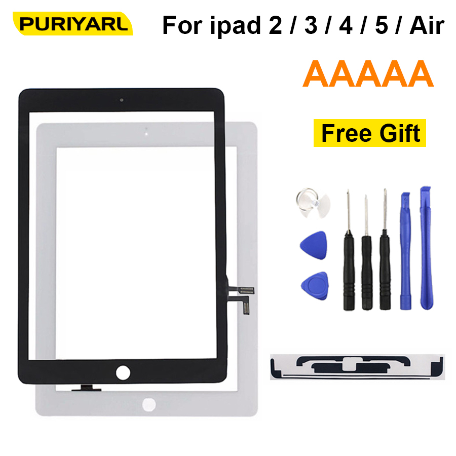 AAA Original For IPad 2 3 4 5 Air White Black Digitizer Touch Screen Front Display Glass Assembly Without Home Button Flex