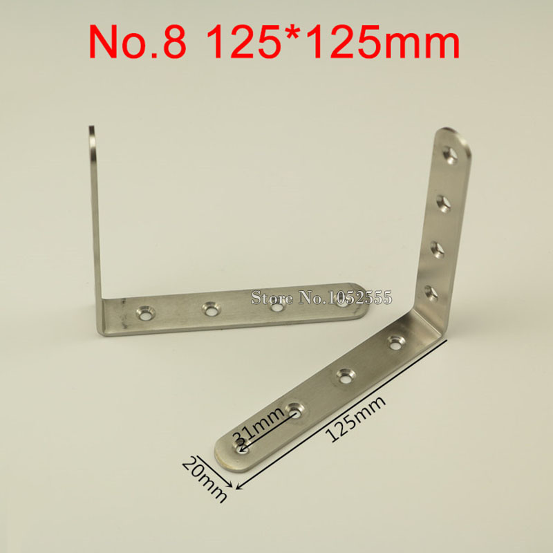 500 pièces D'angle En Acier Inoxydable Supports 125*125mm Supports à Angle Droit Meubles Cadre Support D'étagère Fixation Connecteurs