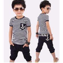 7798625bb 2018 Summer Baby Boys Clothes Sets Stripe T-Shirts Hot Shorts Harem Pant  Suit Children Clothing Kids Sport Suits Marine Sailor
