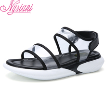 Open Toe Summer Women Wedge Sandals 2019 Brand Designer Fashion Casual Ankle Strap New Student Flat Shoes Beach Sandals Nysiani цена