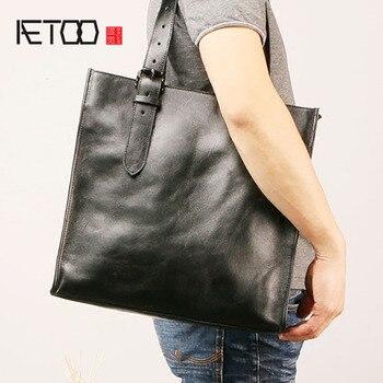138c87e3fb8a AETOO мужская кожаная сумка на плечо, модные повседневные одного плеча  женская сумка-портфель, мода коровьей сумка для покупок