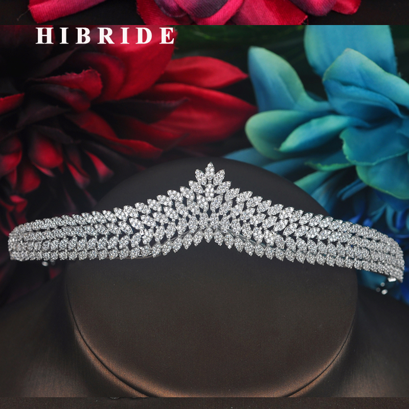 HIBRIDE Luxury Micro CZ Pave Sparkilng Women Bridal Tiara And Crown Mariage Queen Diadem Bijoux Hair