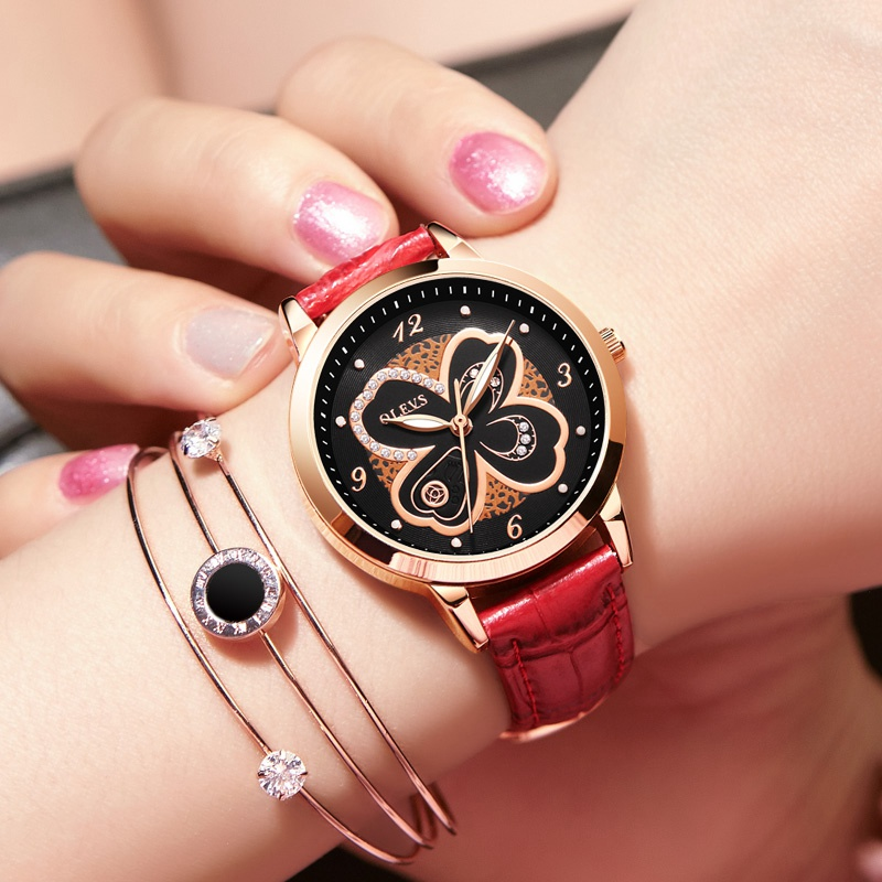 OLEVS relogio feminino Fashion Women Watches Luxury Golden Leather Ladies Watch Women Dress quartz watch female rhinestone Clock famous brand sinobi women leather dress watches ladies luxury casual quartz watch relogio feminino female rhinestone clock hours