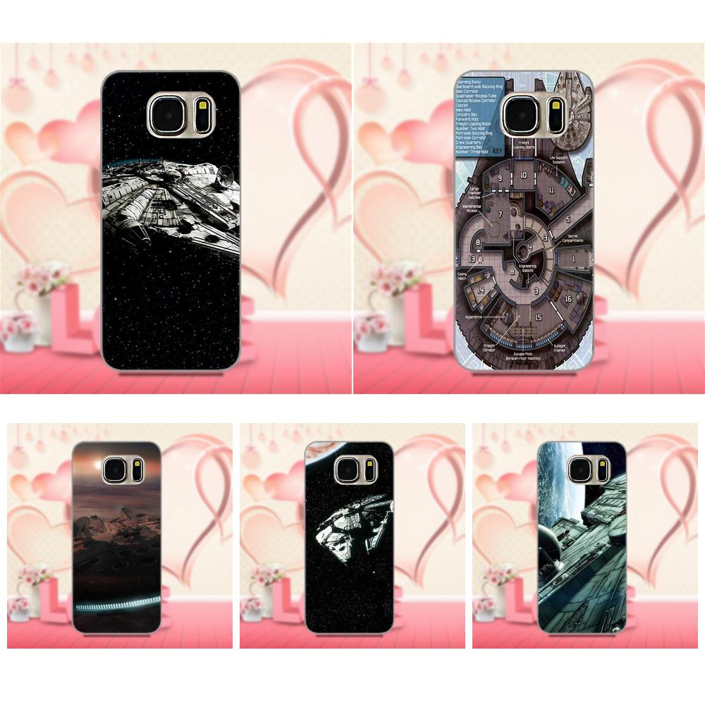 For Galaxy A3 A5 A7 J1 J3 J5 J7 2016 2017 S5 S6 S7 S8 S9 edge Plus Soft TPU Case Coque Cover Millenium Falcon Star Wars Nebula
