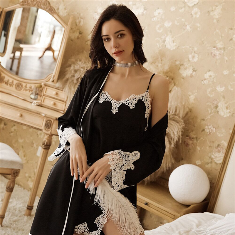 Sexy Satin Silk Night Dress Bathrobe Nightgown Sets 2019 Summer Kimono Lingerie Nightwear Sleepwear Female Nightdress Robe Suit in Robe Gown Sets from Underwear Sleepwears