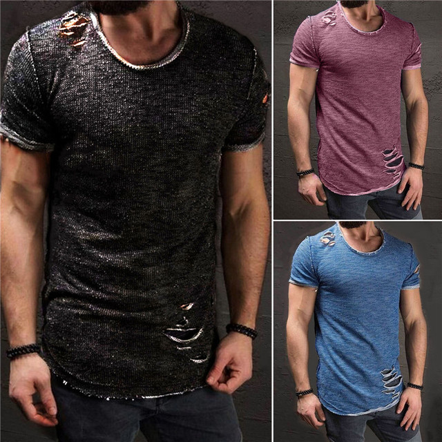 New Hot Sale Ripped Men Slim Fit Cotton Tops T-Shirt Short Sleeve Casual O Neck Tee Shirt 2