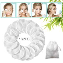 16pcs Resuable Makeup Remover Pads Double-sided Washable Bamboo Fiber Cotton Velvet With Laundry Bag Make Up Tools