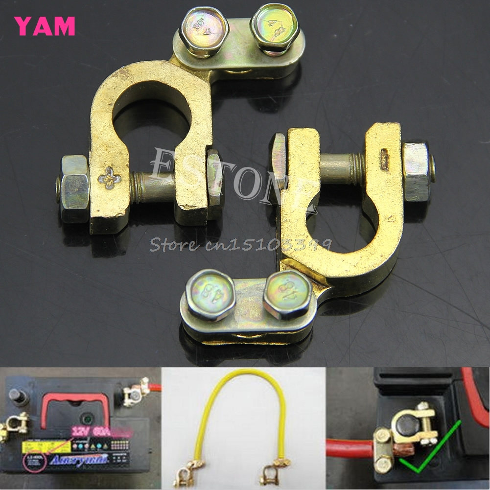 2Pcs Replacement Auto Car Battery Terminal Clamp Clips Brass Connector #G205M# Best Quality promotion battery terminal clamp clips connector car truck auto vehicle parts brass battery switch 5