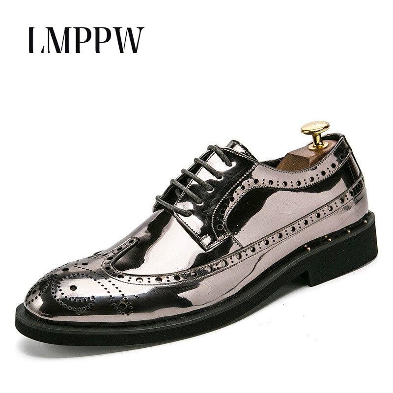 Moda Italiano Couro Patente Homens Dos ouro Oxfords Boi Ouro Casamento prata Sapatos Dourado Tamanho Marca Preto De Lasca Designer Brogue Grande WxzBq7AwnF