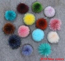 2020 卸売 15 ピース/ロット本物のアライグマの毛皮ポンポン本物の毛皮ポンポン poms 女性子供の冬の帽子 skullies ビーニー帽子 diy ポンポン