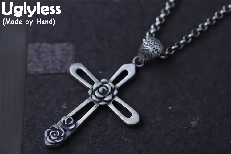 Real S990 Silver Fine Jewelry for Women Hollow Cross Pendants Necklaces without Chains Handmade Engraved Flowers Bijoux