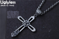 Uglyless Real S990 Silver Fine Jewelry for Women Hollow Cross Pendants Necklaces without Chains Handmade Engraved Flowers Bijoux