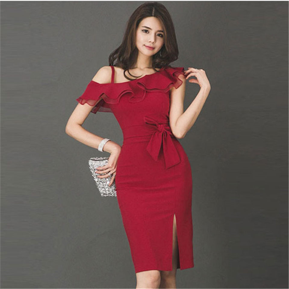 Korea Fashion <font><b>Red</b></font> <font><b>Sexy</b></font> Pencil <font><b>Dress</b></font> Women 2019 Summer Spaghetti Strap Split Bodycon <font><b>Dresses</b></font> Slim Work <font><b>Dresses</b></font> Ladies Vestidos image