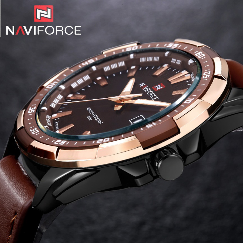 2017 Mens Watches Top Brand Luxury NAVIFORCE Sport Watch Men Military Leather Quartz-watch Male Clock Relogio Masculino Gift top brand naviforce nylon band sport watch fashion casual mens military calender clock man quartz wrist watch relogio masculino
