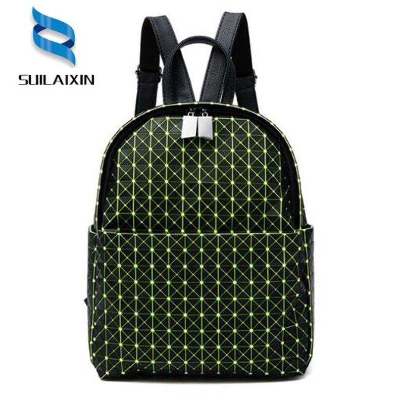 Geometric Backpacks Fashion Women Plaid Sequin Shoulder Bag For Teenage Girls Laser Student Schoolbag Travel