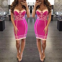 New Fashion 4 Colors Sexy Patch Work Rayon Bandage Dress 2018 Women's Sexy Party Bodycon Bandage Dress