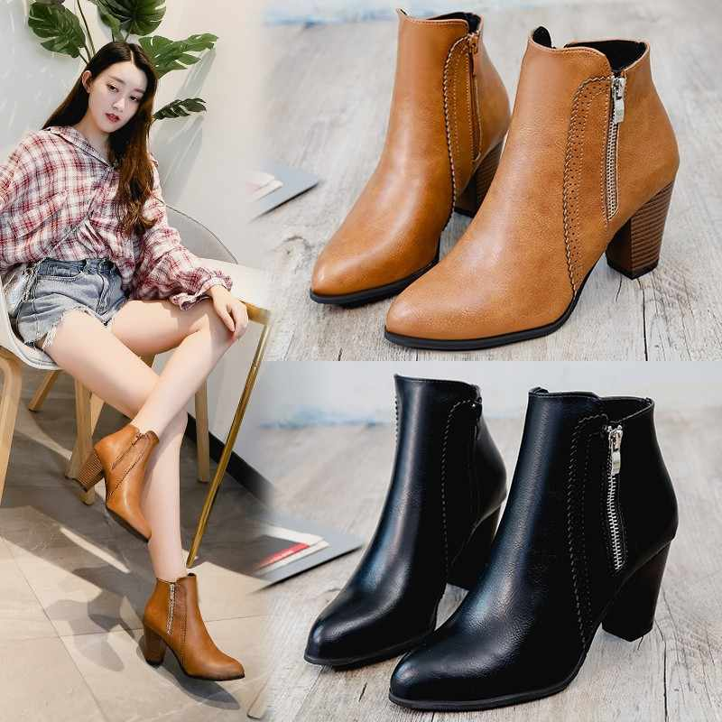 Autumn 2018 New Women Shoes Ankle Sexy Martin Boots Short Boots High-heel  Fashion Pointed 9374da926bf4