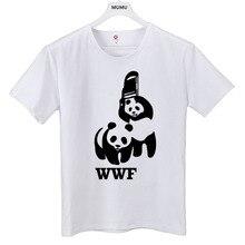 Summer panda Print Tees WWF T-shirt cotton top Fashion Brand t shirt men/women Harajuku pop high quality animal protection