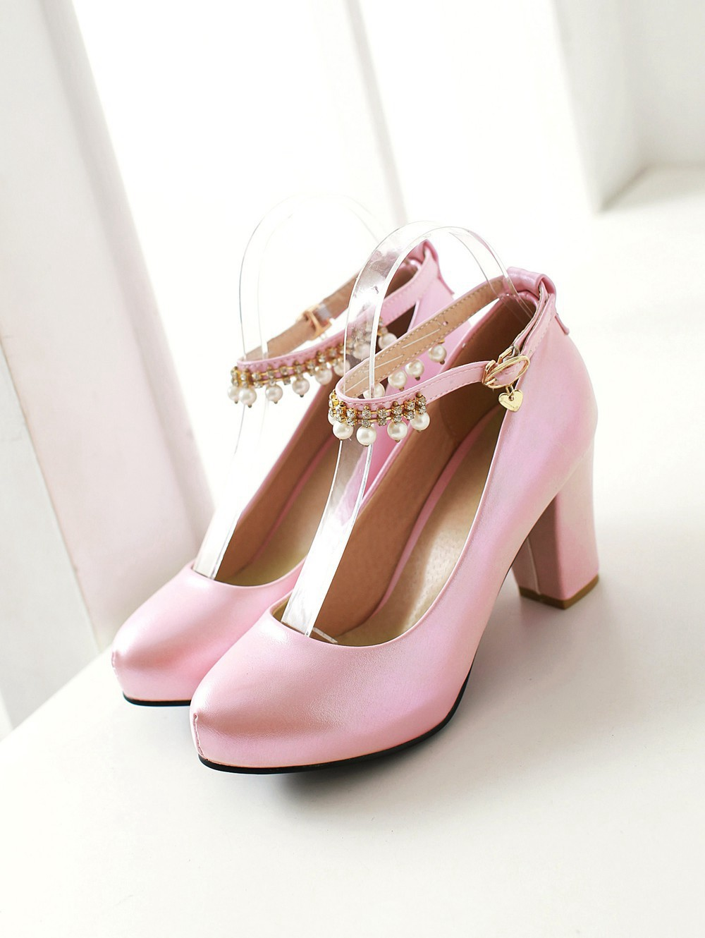 2017 Chunky High Heeled Pink Bridal Wedding Shoes Beaded White Female Buckle Elegant Pumps Silver Gold41