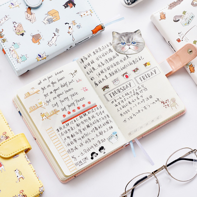 Cute Happy cat PU Leather Cover Planner Notebook Diary Book Exercise Composition Note Notepad Gift Stationery cute pu christmas notebook with password lock school students new year gift diary planner notepad