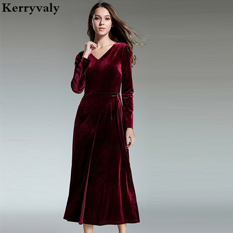 ladies long sleeved red maxi velvet dress winter dresses