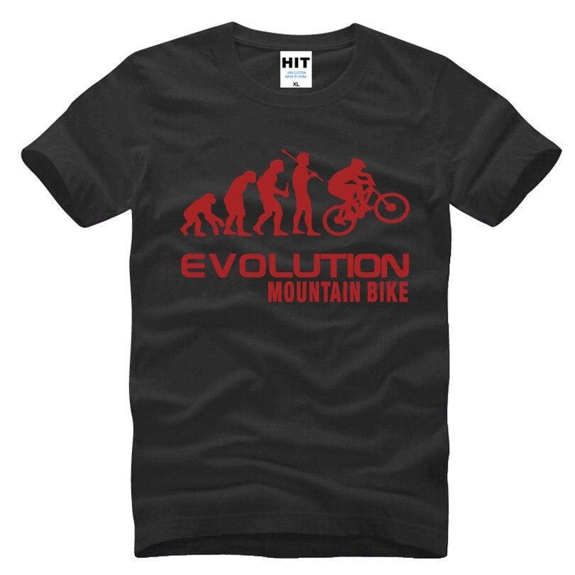 Evolution of Mountain Biker Mens Men 크리에이티브 참신 티셔츠 티셔츠 2018 새로운 반소매 티셔츠 티셔츠 티셔츠