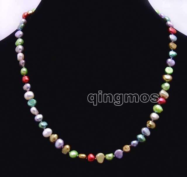 Natural 6-7mm Multicolor Baroque Freshwater Pearl Necklace 17''-nec6247 wholesale/retail Free shipping