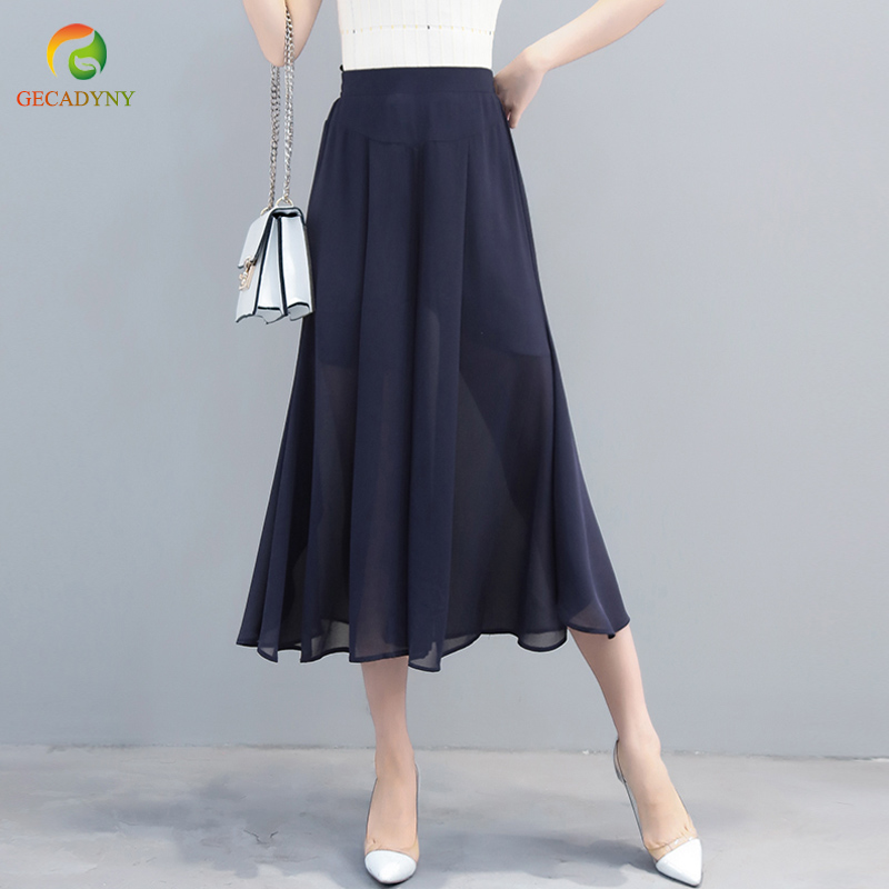 2019 New Fashion Women's Summer High Waist Double Layer Chiffon Wide Leg Pants Capris Casual Trousers OL Flares Skirt Pants 5XL