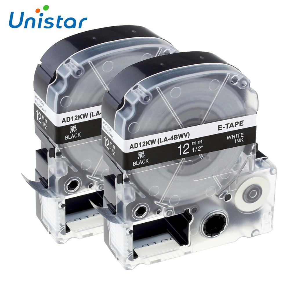 UNISTAR 2PCS SD12K LK-4BWV Tape Cartridge for Epson King Jim LabelWorks 12mm White on Black for LW-300, LW-400, LW-600P LW-700 fender squier jim root telecaster flat white
