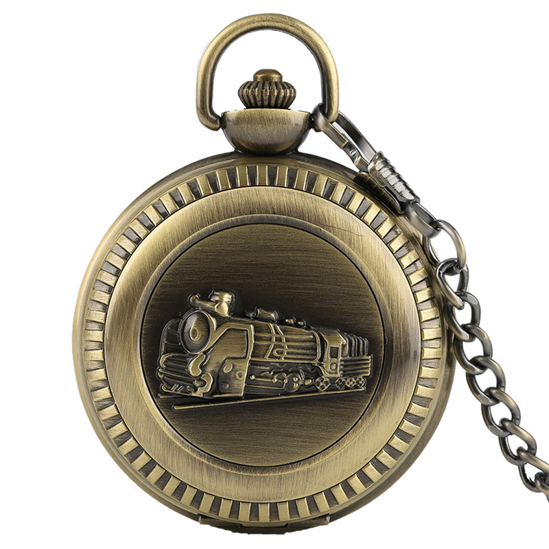 Men Retro Vintage Full Hunter Metal Fob Chain Steampunk Pendant Antique Style Train Big Quartz Pocket Watch with Gift silver retro train locomotive engine design pocket watch mechanical pocket watch with double hunter women men relogio de bolso