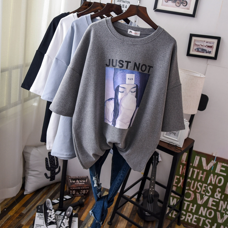 2019 Spring Short Sleeve Loose Cotton Tee Shirts Women O Neck Solid Warm Thick Casual Tees Tops Woman Oversize T Shirts