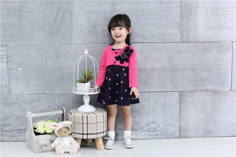 new fashion 100% Cotton Baby girl christmas dresses clothes Kids Children's Lovely princess Two Tones Splicing Polka Dots Dress