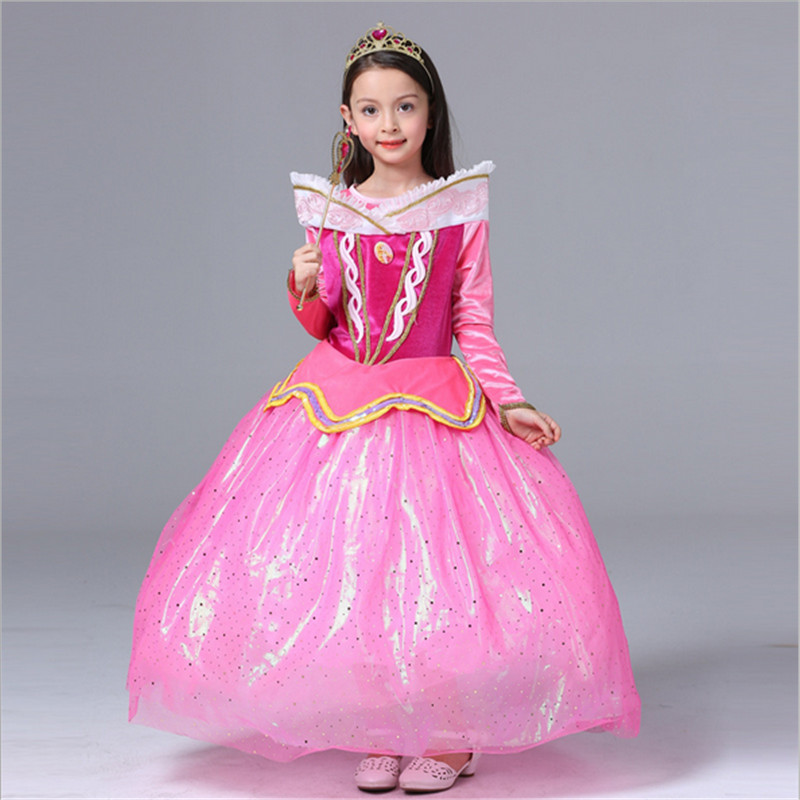 high quality Sleeping Beauty Princess costume spring autumn girl dress pink Princess Dresses for girls Halloween party Costume
