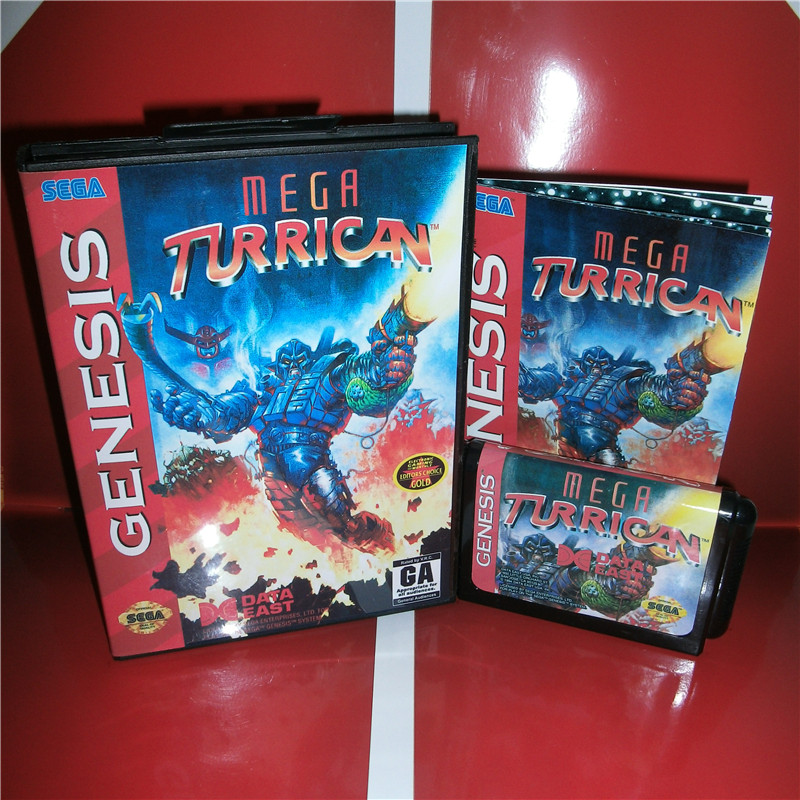 Mega Turrican US Cover with box and manual For Sega Megadrive Genesis Video Game Console 16 bit MD card