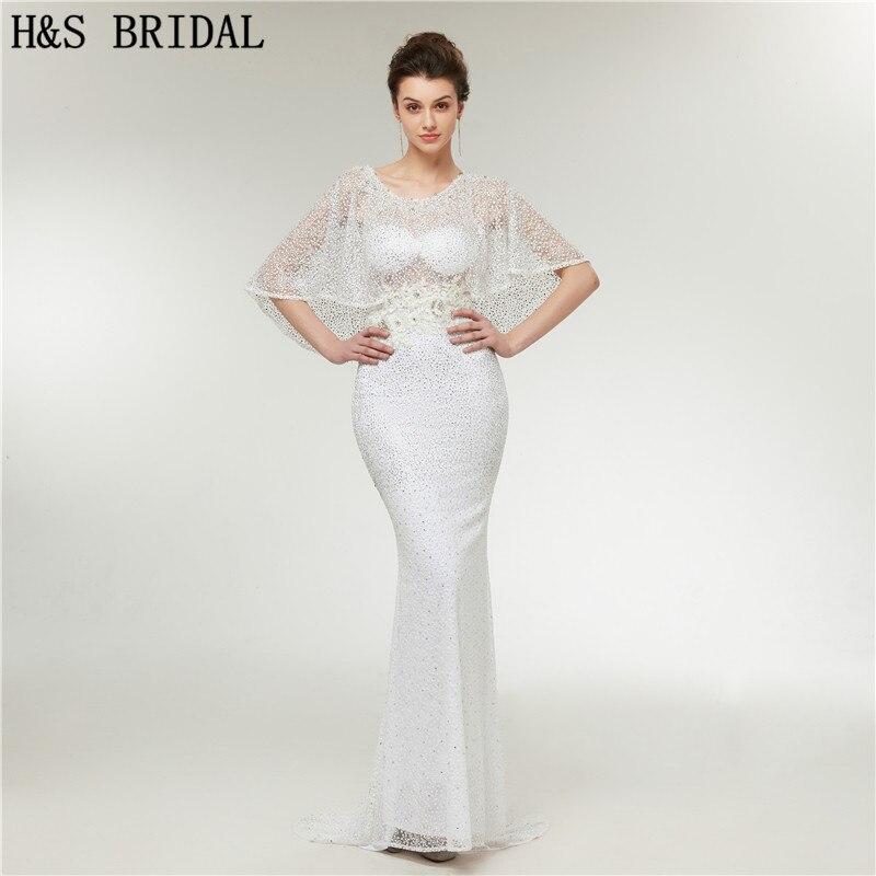 H&S BRIDAL White Lace   Prom     Dresses   Embroidered Lace Applique Beading mermaid   prom     dress   robe de soiree longue 2018 vestido longo