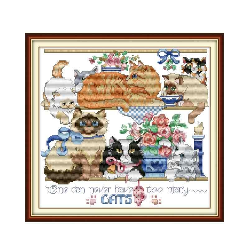 Joy Sunday восемь котят схемы для вышивки крестом животные холст вышивка набор DMC нить Счетный крест ткань аида DIY рукоделие