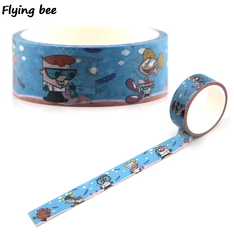 Flyingbee 15mmX5m Paper Washi Tape Dexter's Laboratory Funny Adhesive Tape DIY Scrapbooking Sticker Cartoon Masking Tape X0340