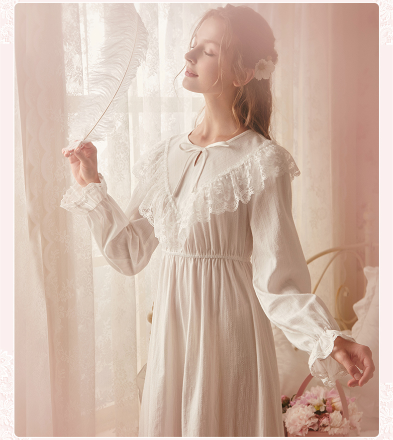 Vintage Nightgown Autumn Sleepwear Women Cotton Nightgowns New 2019 Brand