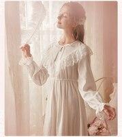 Vintage Nightgown Autumn Sleepwear Women Cotton Nightgowns New 2019 Brand