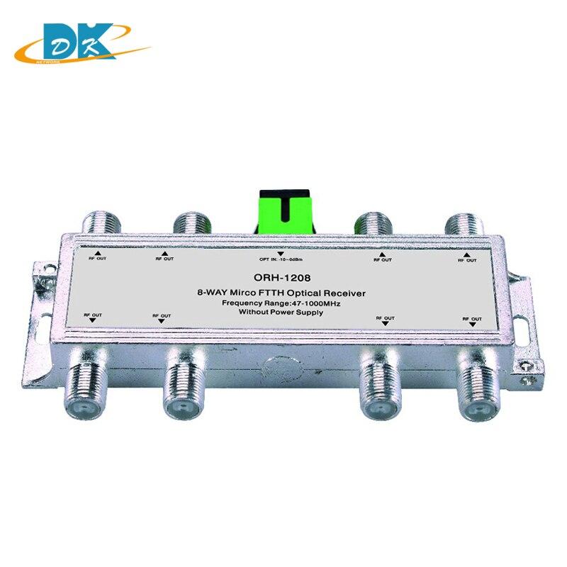 10 pcs/lot Mini CATV FTTH récepteur optique ORH-1208 47-1000 MHz, 8 voies passif FTTH récepteur optique négatif
