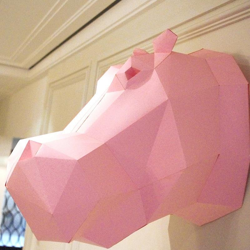 DIY 3D головоломки Бумага качество Модель Руководство трехмерная Бумага Модель Дети выгодно Мудрость Игрушки-Бегемот (23 страниц)