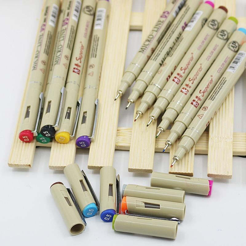 1pc Colors Drawing Design Sketch Micron Fine Point Pen 0.5mm Fineliner Art Marker Pen