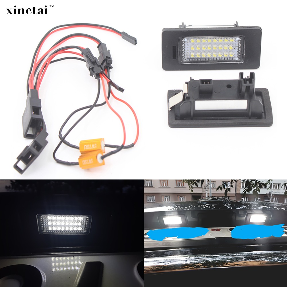 2PCS Canbus Error Free LED Number License Plate Light for Volkswagen VW golf 6 7 MK7