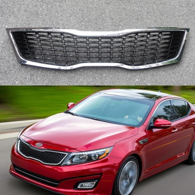 1pcs Honeycomb Chrome Front Bumper Upper Grill Grille Insert For Kia