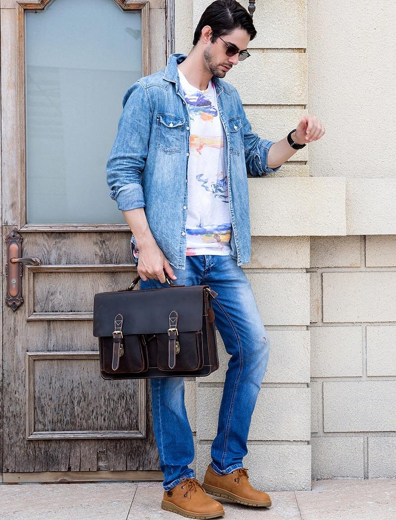 HTB1TjYZX8Gw3KVjSZFwq6zQ2FXav MAHEU Luxury Fashion 100% Genuine Leather Men Briefcase Cow Leather Laptop Bag Vintage Shoulder Bag Real Cowhide Computer Bag