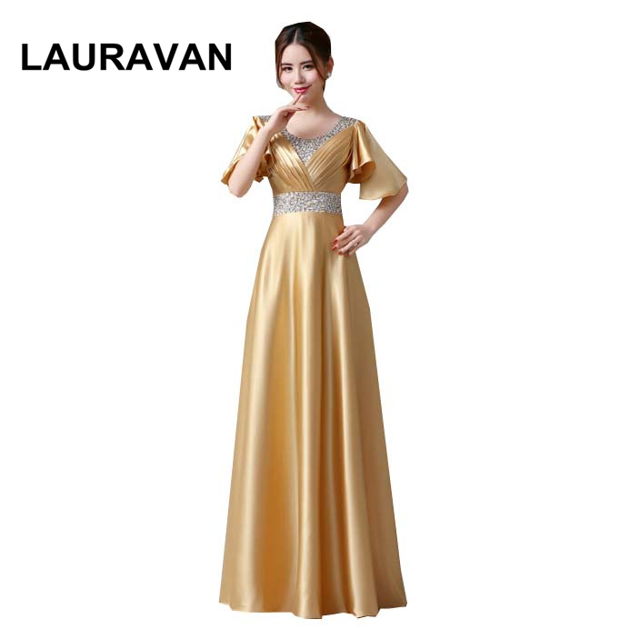 ladies women Gold Color party dresses long robe soiree elegant gown ladies bridesmaid dress gold dress occasion 2020 for Women