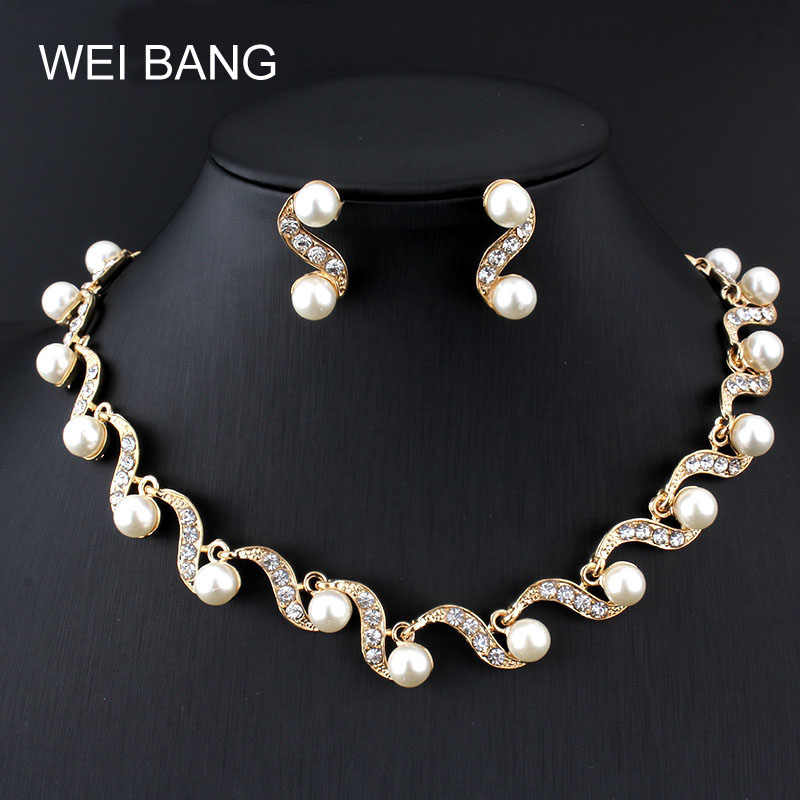 Weibang Elegant Women Crystal Pearl Jewelry Set New Costume Simulated-pearl Necklace Earrings Jewelry Sets For Wedding Gift