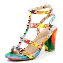 2016 neue Ankunft Mode Gladiator Sandalen Frauen High Heels Sexy nieten punk Schuhe Frau Peep Toe regenbogen Schuhe größe 31-44